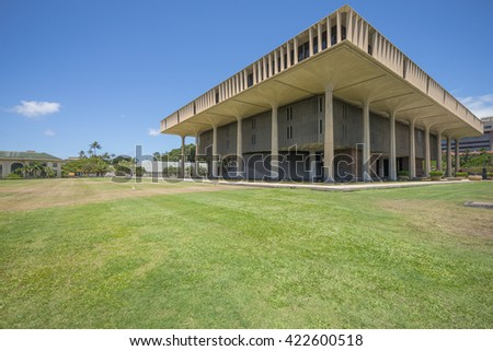 Honolulu, Hawaii, USA, May 18, 2016:  Panoramic view of the Hawaii State Legislature Building in downtown Honolulu.