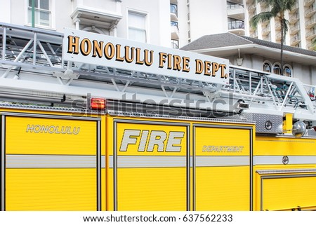 Honolulu, Hawaii, USA - May 30, 2016: Waikiki Memorial Day Parade - Honolulu Fire Department