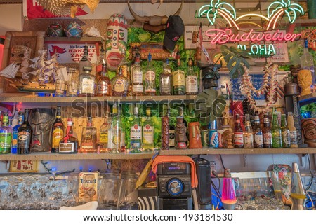 Honolulu, Hawaii, USA, Oct. 4, 2016:  Closeup view of memorabilia surrounding the new Tiki Bar at the world famous Hawaii Yacht Club.