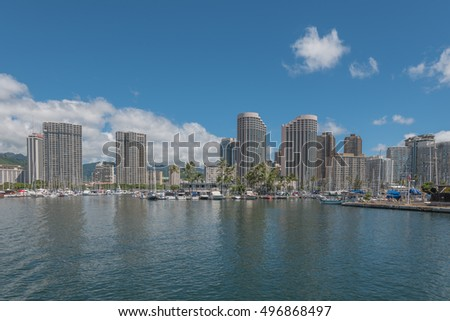 Honolulu Hawaii, USA, Oct. 11, 2016:  Offshore view of the Ala Wai Harbor with Waikiki resorts in the backdrop.