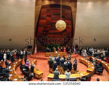 HONOLULU, HI - JANUARY 14: Former U.S. Senator Daniel Akaka gets standing ovation from audience. January 14, 2013 at the State Capitol in Honolulu, Hawaii. - stock photo