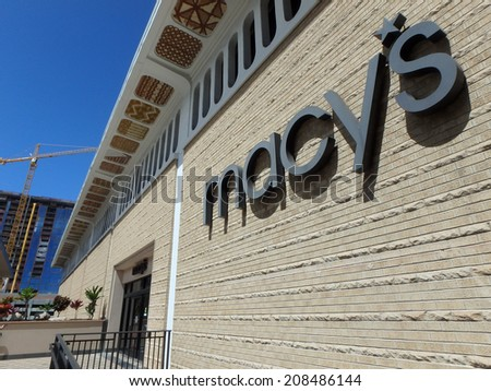 HONOLULU, HI - JUNE 27, 2014: Macy's store in Honolulu. Macy's is a mid-range to upscale chain of department stores owned by multinational corporation Macy's, Inc.  - stock photo