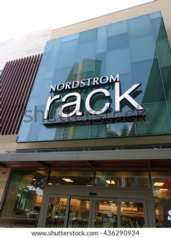 HONOLULU - JANUARY 28: Nordstrom Rack sign and entance way in Ward Village on Oahu, Hawaii on January 28, 2016.  Nordstrom Rack is the off-price retail division of Nordstrom Inc. - stock photo