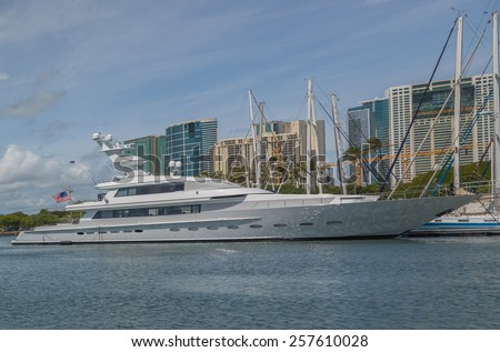 Honolulu, March 3:  A new super yacht has arrived in Honolulu Hawaii to be viewed by a potential customer.  Honolulu, Hawaii, USA.  March 3, 2015 - stock photo