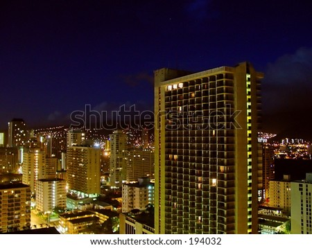 Honolulu night - stock photo