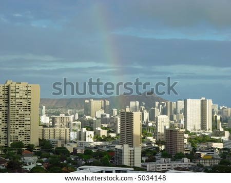 Honolulu Rainbow over skyline