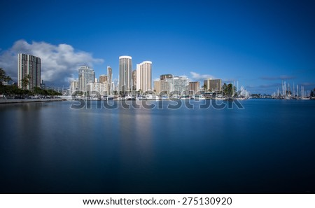 Honolulu skyline with seafront, Hawaii - stock photo