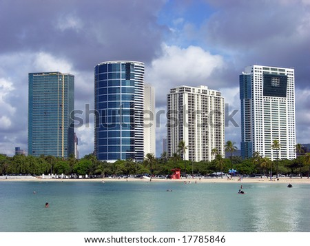 Honolulu skyscrapers next to the beach (Hawaii).