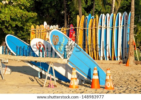 HONOLULU, USA - SEPTEMBER 24: Surf rental shop on Waikiki beach on September 24, 2011 in Honolulu, Usa. Waikiki beach is neighborhood of Honolulu, best known for white sand and surfing.