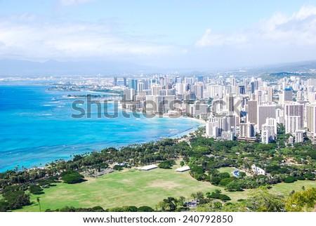 Honolulu - Waikiki Beach panorama from the rim of the Diamond Head crater - stock photo