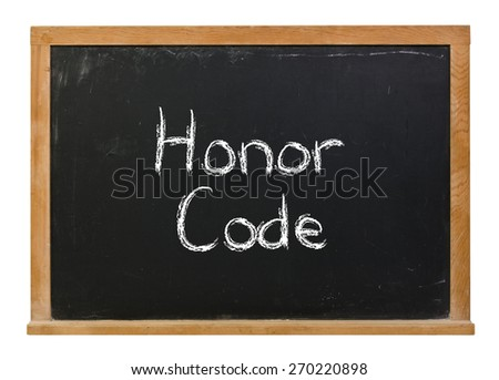 Honor code written in white chalk on a black chalkboard isolated on white - stock photo