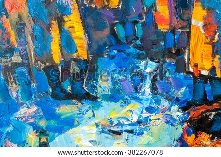 Honored Artist of Tatarstan M. Sh Khaziev. texture, background. Abstract drawing in oil on canvas. Expression Abstract painting. Abstract painted canvas. Oil paints on a palette.  - stock photo
