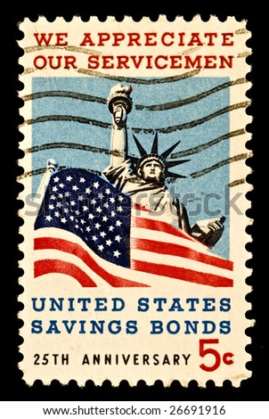 Honoring American servicemen and US savings bonds. Issued 1966. - stock photo