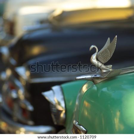 Hood ornament of an antique car, Havana, Cuba - stock photo