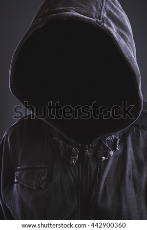 Hooded hooligan portrait without face - stock photo