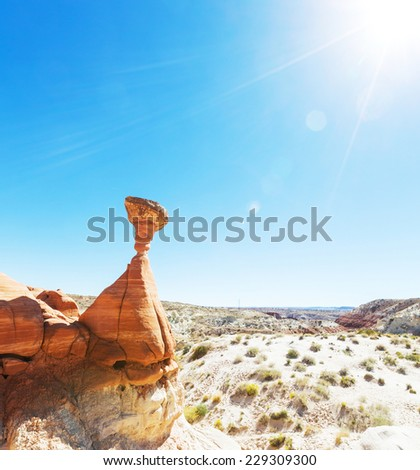 Hoodoo formations in Utah, USA. - stock photo