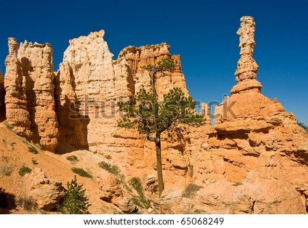 Hoodoo standing tall in Bryce Canyon National Park - stock photo