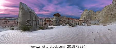 Hoodoo stone formation near Page, Arizona, USA - stock photo