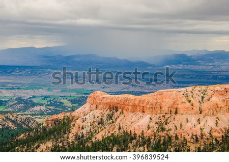 Hoodoos during cloudy, moody weather at Bryce Canyon National Park in Utah - stock photo