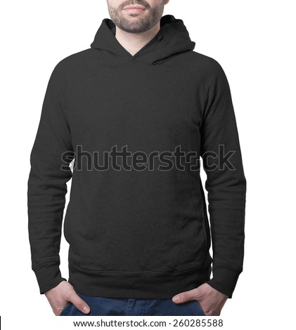 hoody clothing template black with male torso isolated on white with clipping path both for background and garment - stock photo
