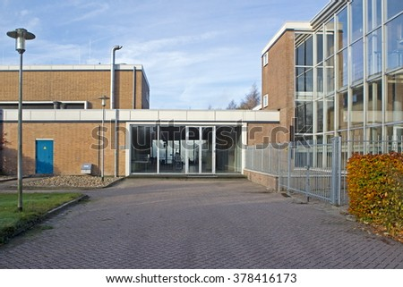 Hoogeveen, Netherlands: November 8, 2015: vacant office of waterworks in De Vos van Steenwijklaan in Hoogeveen