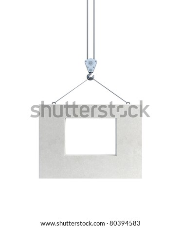 hook holding concrete block, isolated 3d render - stock photo