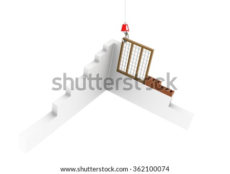 Hook pulling the window - stock photo