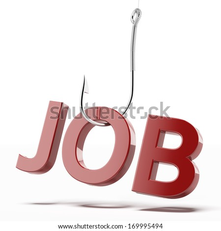 hook with word job - stock photo