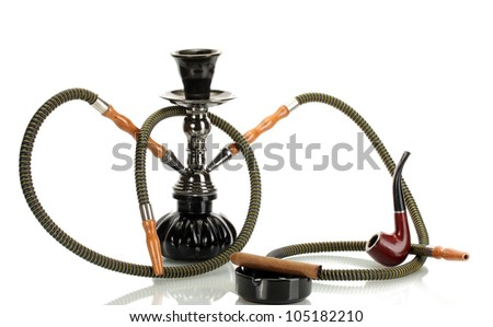 hookah, cigar and pipe isolated on white - stock photo