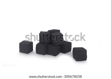 Hookah coal isolated on white background - stock photo
