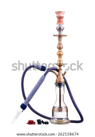 Hookah isolated on a white background. Water pipe, hookah tobacco, coal, charcoal - stock photo