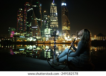 hookah night city lights - stock photo