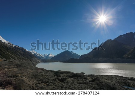 Hooker glacial lake at Mount Cook National Park, New Zealand  - stock photo