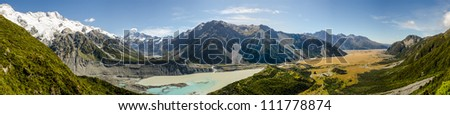 Hooker Valley and Mount Cook Panorama, Mount Cook National Park, New Zealand - stock photo