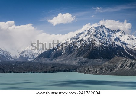 Hooker Valley in New Zealand - stock photo