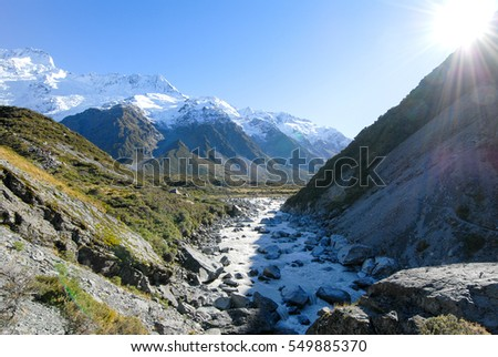Hooker Valley Track in the Morning, Hiking Trail in Aolaki/Mount Cook, New Zealand