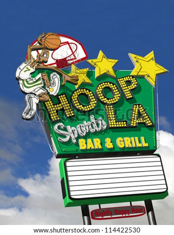 Hoop-La Basketball Sports Grill Neon Sign - stock photo
