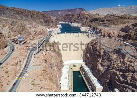 Hoover Dam at Arizona-Nevada Border, USA - stock photo