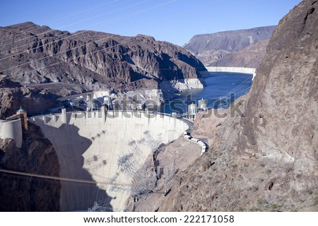 Hoover Dam at Lake Mead - stock photo