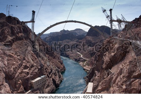 Hoover Dam Bypass Bridge during early construction, provides a bridge connecting roads for a new route across the Colorado River for U.S. Route 93 near the Hoover Dam east of Las Vegas, Nevada - stock photo