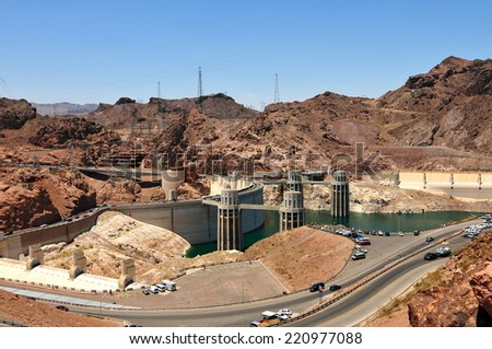 Hoover Dam in the Black Canyon of the Colorado River, between Arizona and Nevada, USA. - stock photo