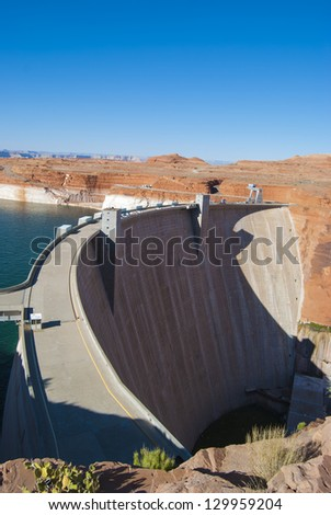 Hoover Dam on the border of Arizona and Nevada. - stock photo