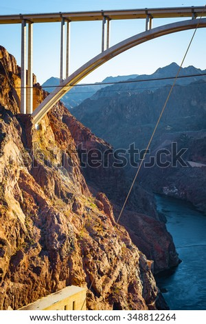 Hoover Dam, once known as Boulder Dam, is a concrete arch-gravity dam in the Black Canyon of the Colorado River, on the border between the states of Nevada and Arizona.
