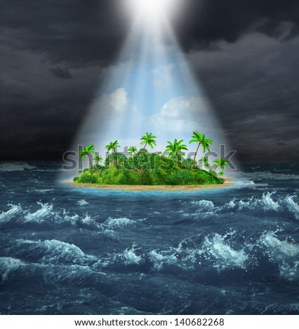 Hope and aspirations success concept as a dark storm ocean background contrasted with a glowing light from above shinning down on a beautiful tropical island as an oasis vision of the promised land. - stock photo