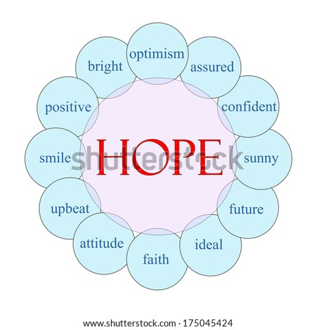 Hope concept circular diagram in pink and blue with great terms such as optimism, sunny, future and more.