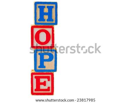 HOPE Letter Blocks 1 - stock photo
