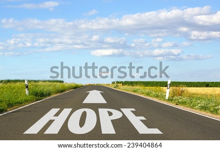 Hope - Street with arrow and text in nature - stock photo