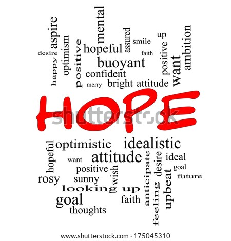 Hope Word Cloud Concept in red caps with great terms such as optimistic, goal, wish and more.
