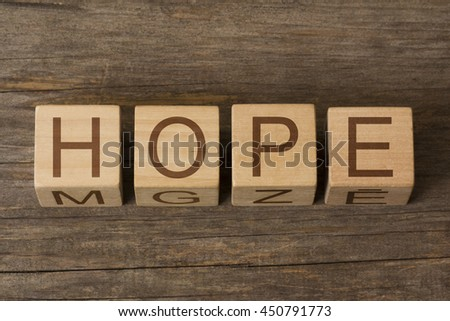 HOPE word on wooden cubes