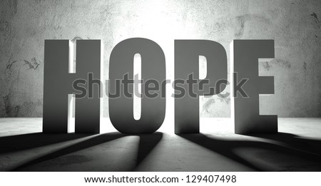 Hope word with shadow, background with text - stock photo